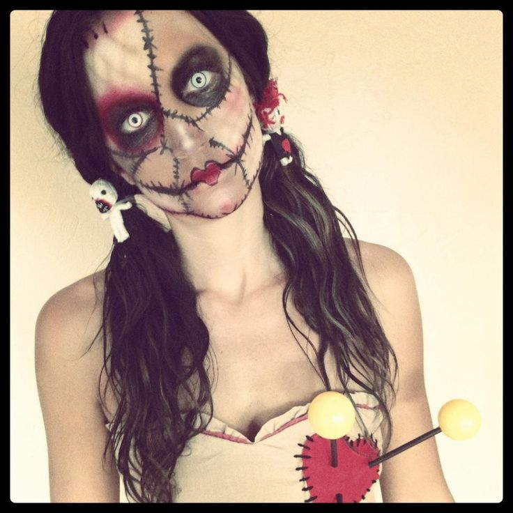 Voodoo Doll Make-up for Halloween.                                                                                                                                                                                 More