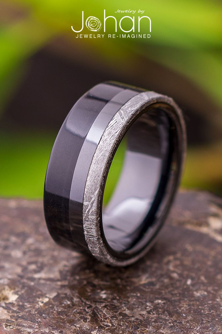 This Masculine Meteorite And Black Ceramic Wedding Band Is Adorned With Ebony Wood For A Dark Mysterio Mens Wedding Rings Ceramic Wedding Bands Wedding Rings
