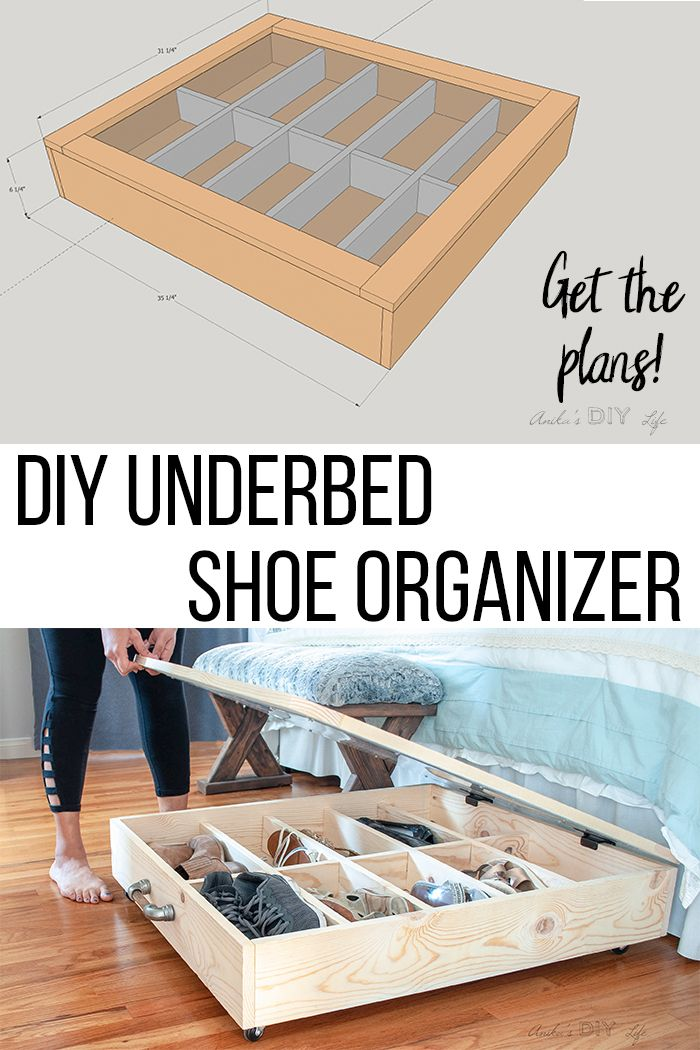 How To Make Diy Under Bed Storage For Shoes Anika S Diy Life Diy Drawers Under Bed Shoe Storage Diy Storage Bench