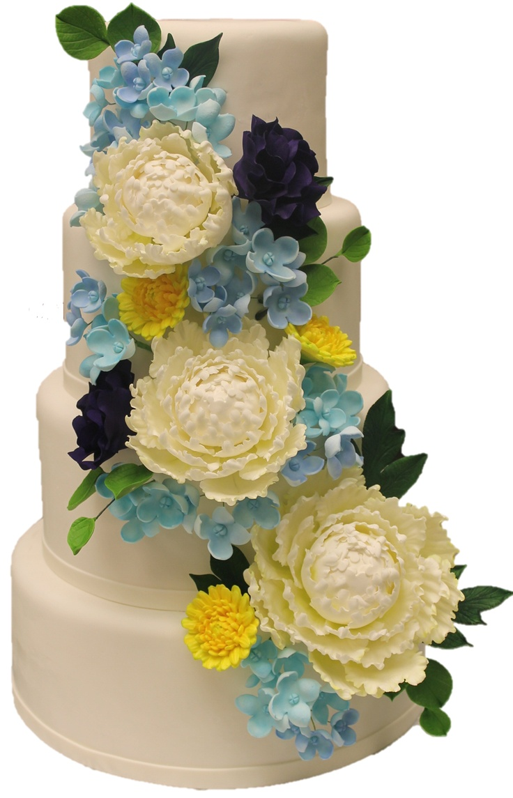This wedding cake was inspired by the bride's waterside reception.  Sugar flowers of blue hydrangea, purple lisianthus, white peonies and yellow dahlias reflect punches of the Intracoastal Waterway.