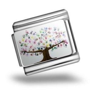 """Italian Charms Original """"Tree of Life Art, Children, Family, Love"""" Bracelet Link"""
