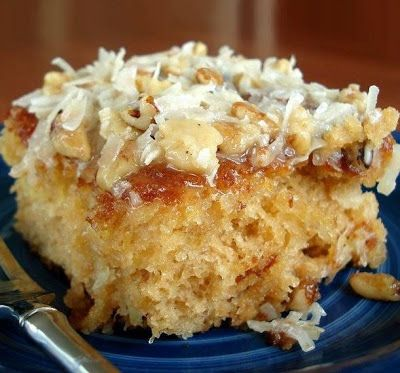 Do Nothing Cake.2c sugar.2c flour.2 eggs.1tsp baking soda.1tsp vanilla.16oz crushed pineapple, undrained.1/2c butter.1c sugar.3/4c evaporated milk.1c coconut.1c pecans.1tsp vanilla.Mix first 6 ingredients.Pour into 13x9 inch cake pan.Bake at 350° 35-40 minutes.For Icing: Mix butter, sugar and evaporated milk together and cook over medium heat until a little thickened.5min.Remove from heat and add remaining ingredients.Pour over hot cake.