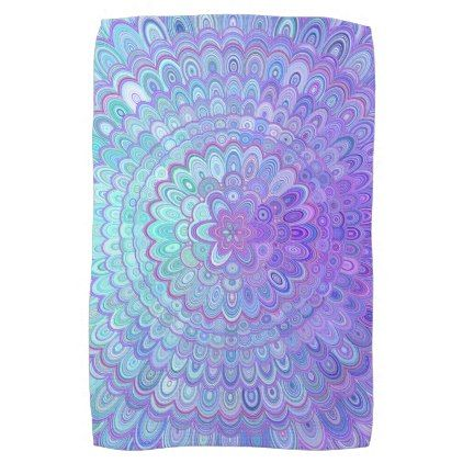 Mandala Flower in Light Blue and Purple Hand Towel - kitchen gifts diy ideas decor special unique individual customized