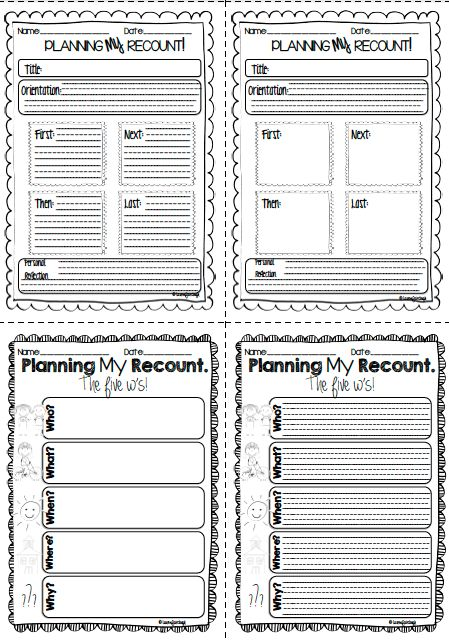 Recount writing for kindergarten, first, second and third grade!! 21 Pages and 8 differentiated versions of personal recount writing planners.