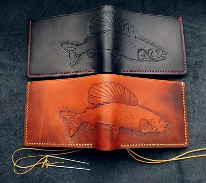 Leather carved grayling wallet