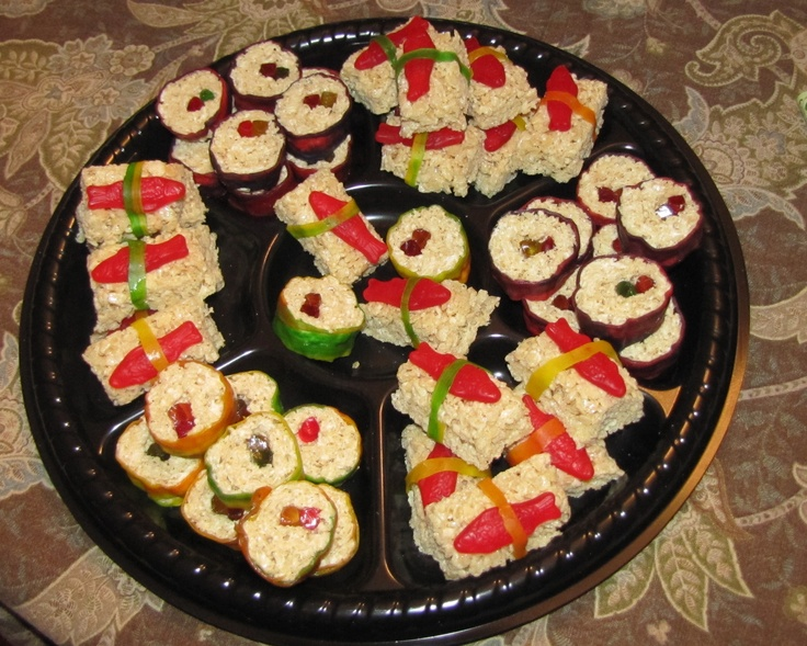 """Rice Treat """"Sushi"""" for my son's 7th Ninja themed birthday party!  Got the idea at the link provided."""