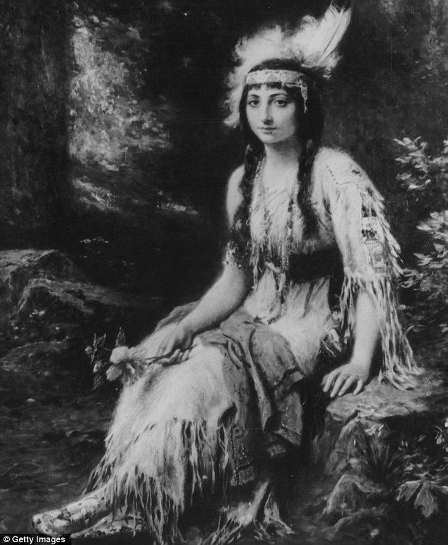 Native American Princess Pocahontas wearing traditional attire, at the time of her marriage to colonialist John Rolfe