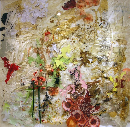 Judy Pfaff -a multi-medium piece of textures, layers, colors, drawings, cut-outs, freedom, spontaneity