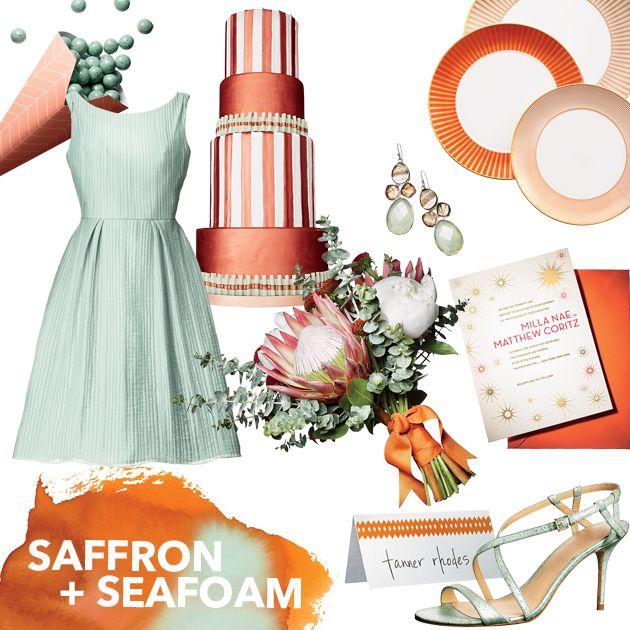 Brides: Wedding Color Scheme: Saffron and Sea Foam
