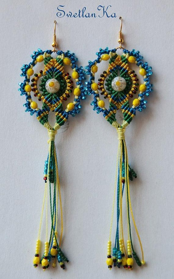 TUTORIAL EN micro macrame earrings Nawruz by TreasuresOfCrafts