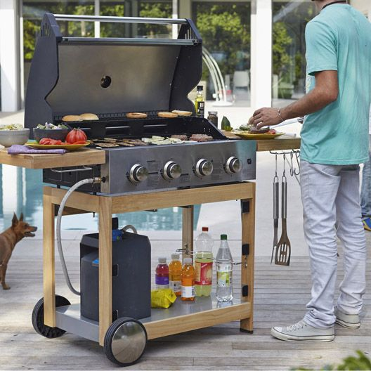 Barbecue au gaz NATERIAL Miami 4b chariot bois, 4 bruleurs #barbecue #gaz #chariot #bois #bruleurs #jardin #terrasse #eté #magasin #leroymerlintrignac #trignac #loireatlantique #bricolage #catalogue #maison #france
