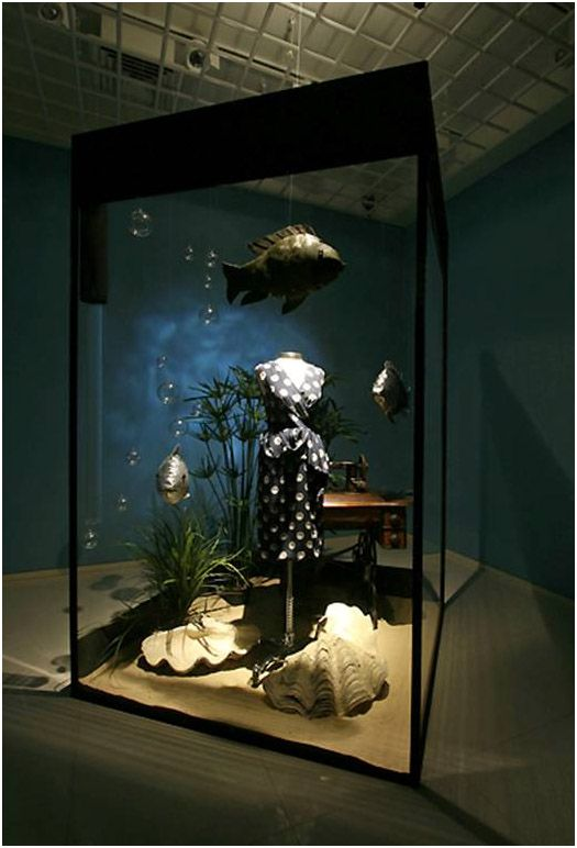 Awesome window display theme idea. Could really attract attention and interest. This could also become a seasonal display.