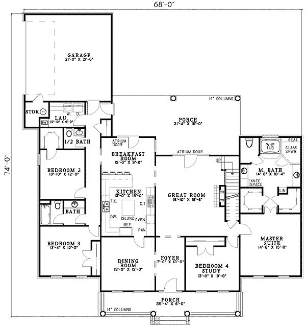 Plan 59300ND Southern Traditional Home