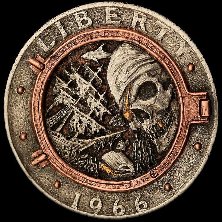 """David Jones' locker"" clad coin carving by Aleksey Saburov with 24K gold & copper inlay."