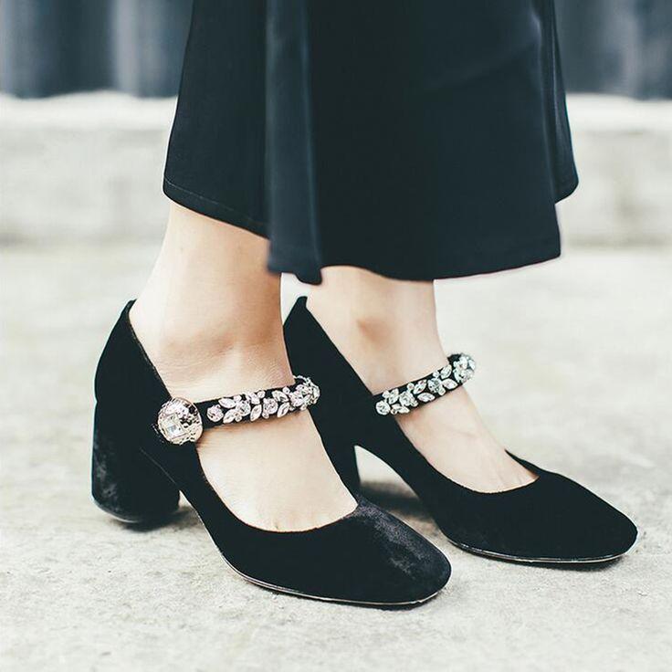 2017 European style velvet buckle Rhinestones Mary Jane High Heels shoes woman square head shallow sheepskin Wedding Shoes z569