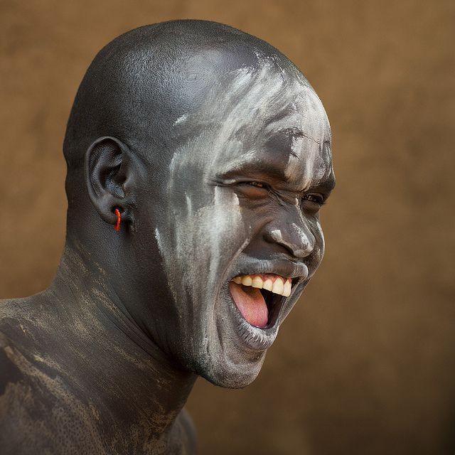 Bodi Tribe Man With Body Paintings, Hana Mursi, Omo Valley, Ethiopia - by Eric Laffrogue
