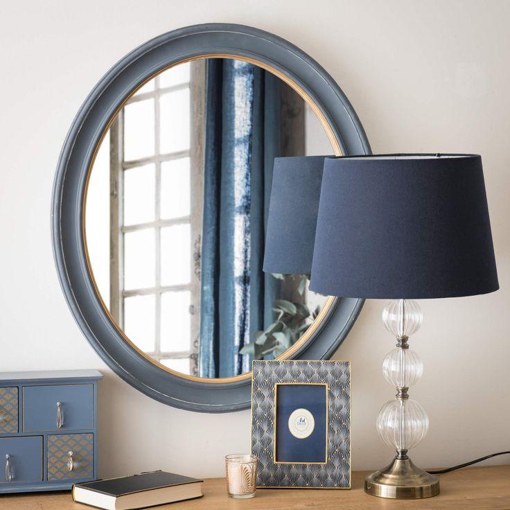 Miroir ovale en bois bleu H 60 cm WESTERLY