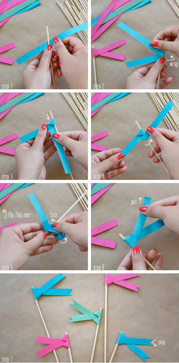 Paper flag tutorial  The Yuppie Lifestyle has created these colorful flags with a strip of paper and sticks, without using any glue.  They seem great to place them as decoration for birthday cakes, as cocktail sticks or as a placecards with your guest's name.