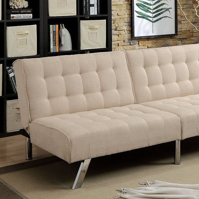 A versatile piece perfect for you and your guests, this futon stands out with its button tufted cushions and angled metal legs. Easily convert the sofa into a bed for a quick nap or bring a friend ove