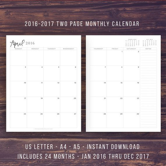 December 2016 January 2017 Kitchen Of The Month: 2017 MONTH ON 2 PAGES PLANNER And CALENDAR January
