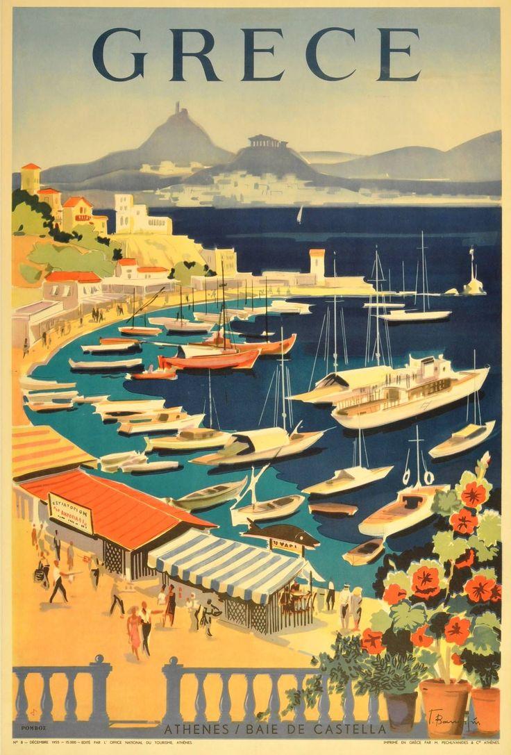 Original vintage travel poster for Greece: Grece - Athenes / Baie de Castella 1