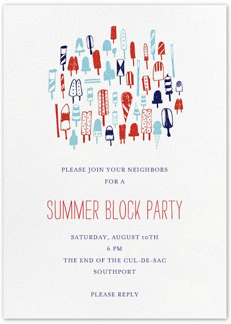 Block party ideas: Save money by emailing invitations, like this one from Paperless Post