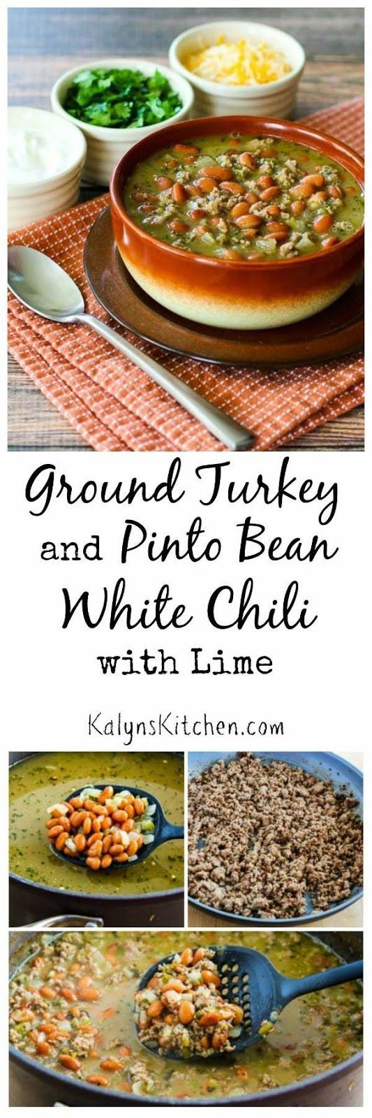 Make this amazing Turkey and Pinto Bean White Chili with Lime with ground…