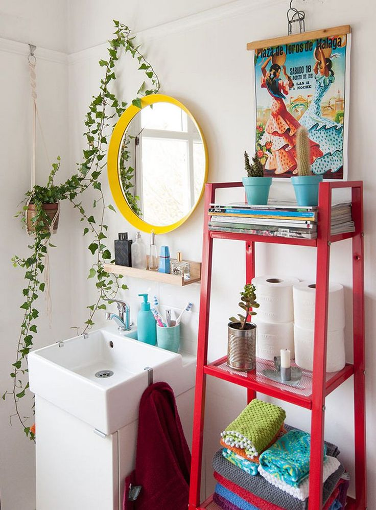 409 best bohemian bathrooms images on pinterest house for Bright coloured bathroom accessories