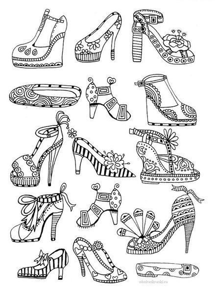 high heels coloring page for adults