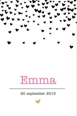 Hip geboortekaartje in zwart wit met hartjes hartjesregen - voor een meisje. Je kunt het lettertype en de kleur helemaal aanpassen zoals je zelf wilt.