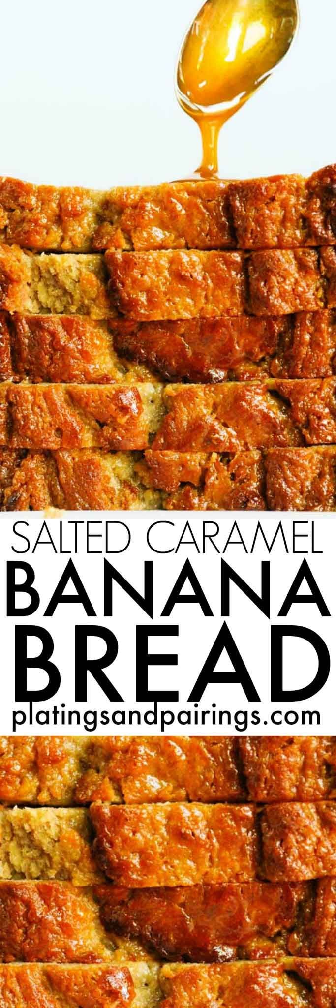 This Salted Caramel Banana Bread with Yogurt is flavorful, moist and not overly sweet - It's the perfect balance of flavors and easy to make at home!   platingsandpairings.com