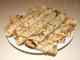 Palascinta, Hungarian Crepes.  Tastes best with Apricot or Raspberry Lekvar (jelly) filling.