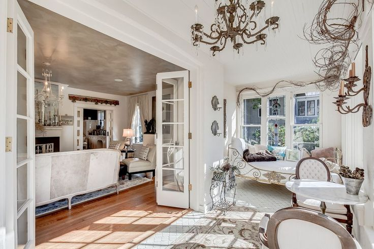 Traditional Porch with Oval Back Louis XVI Armchair, exterior tile floors, Sun room, Wrap around porch