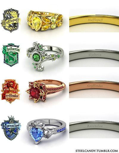 "Harry Potter engagement rings, gimme - this one is aka ""things his girlfriend likes"" ;)"