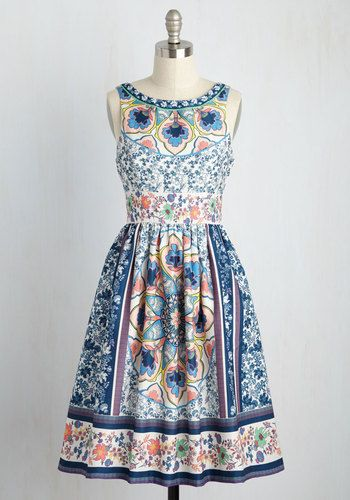 Revolving Restaurant Dress. You want to break tradition, so you take this ivory dress for a spin in a new hot spot! #blue #modcloth