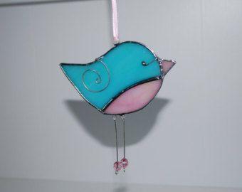 Fun rose Turquoise teinté en verre - vitrail 3D ornement - Noël décoration maison Decor Suncatcher 3Dimensional fil ailes d oiseau