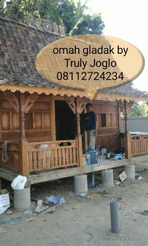 "We made a Javanese traditional wooden house using primitive panels as the front wooden walls. Size 5.5m X 7 meters. All teak. This is called ""Rumah Geladak Jawa""."