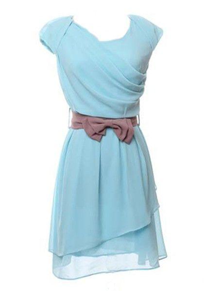 Aqua Blue Bow Belt Cap Sleeve Chiffon Dress