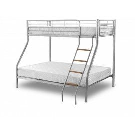 A Silver Metal Bunk Bed Which Sleeps With Wooden Steps The Bottom Has E For Double Mattress Top Is Single