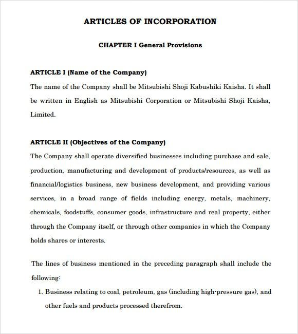 Articles Of Incorporation Example Business Mentor Incorporate