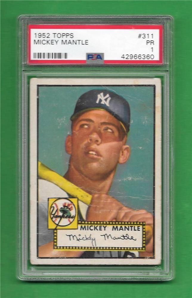 1952 Topps 311 Mickey Mantle Centered Strong Rookie Card Psa Poor 1 Baseball Cards Baseball Mickey Mantle
