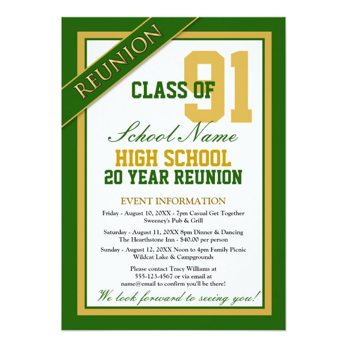 Classy Formal High School Reunion 5x7 Paper Invitation Card