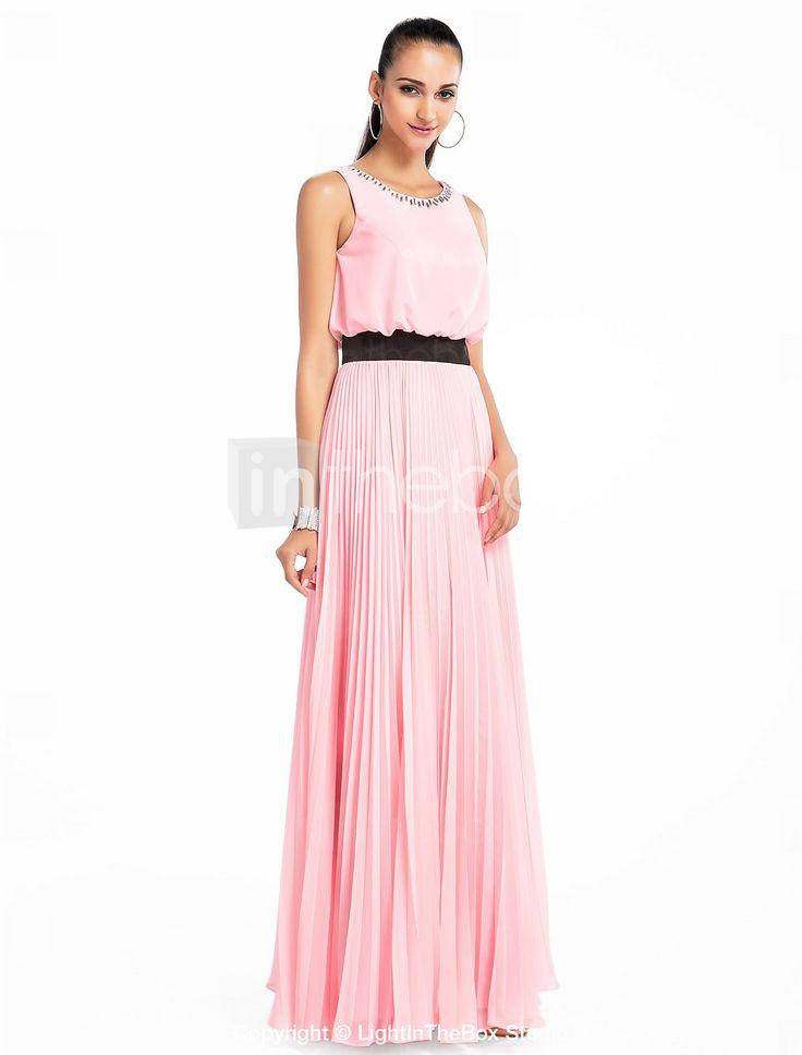 a-line juvel gulvlange chiffon aften / prom dress - DKK kr. 544