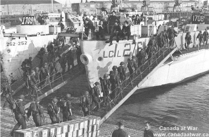 It shows Canadians boarding a boat after D-Day on Juno beach. This primary source is credible because it was taken by an original observer at the event. This shows Canadians lives changing because they are freeing European countries from the Nazis and soon Germany will surrender and Canada will no longer be involved in war.