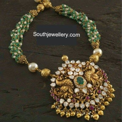 Stunning Beads Necklace with Nakshi Pendant