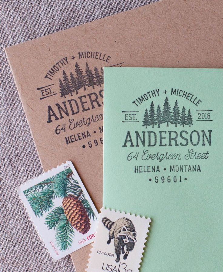 Once just a pencil sketch, these illustrated pine trees will turn your mail into a small patch of wilderness, ready for your mail man to pick up! All of The Chatty Press address stamps can be customiz