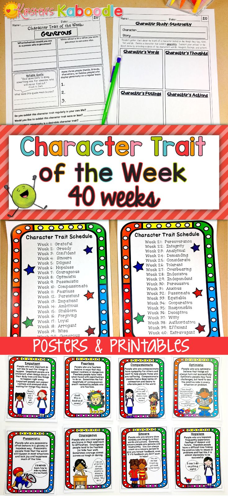 Are you a teacher looking for engaging ways to help your students understand character traits?  These character traits posters and printables for each week of the year will help your students make connections to their lives and to literature. All 40 posters feature different character traits and come with corresponding no prep printables. Teacher tips and ideas for use are also included.