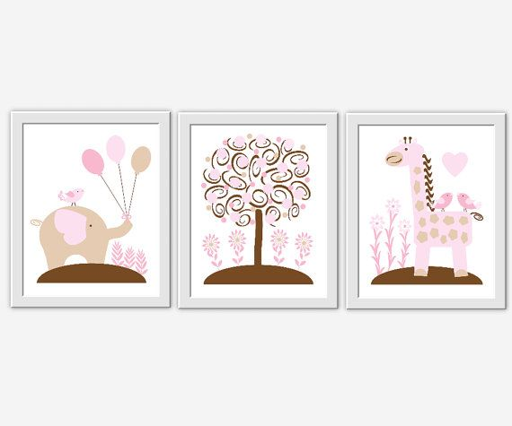 Hey, I found this really awesome Etsy listing at https://www.etsy.com/listing/169702214/baby-girl-nursery-wall-art-brown-pink