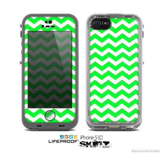 The Green & White Chevron Pattern Skin for the Apple iPhone 5c LifeProof Case on Etsy, $9.99