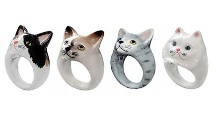 Fun & Funky Porcelain Cat Jewelry from Nach Bijoux - How cute is this!  I want one!